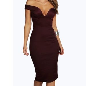 Boohoo Sweetheart Off Shoulder Bodycon Midi Dress